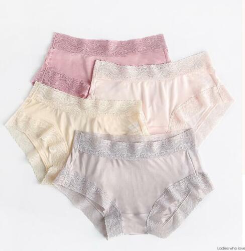 4 Pack 50/% Silk Women/'s Lace Trim Panties Boyshorts Underwear Knickers SG001