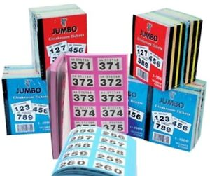 raffle cloakroom tickets 500 or 1000 books tombola draw jumbo brand
