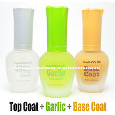 3 Kleancolor Nail Polish Top Base Coat Garlic Growth Treatment Lacquer 3SET20