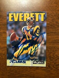 JIM EVERETT Rams 1992 Skybox Signed Auto Autograph Card ...