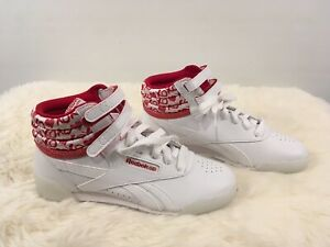 Red White Reebok Freestyle High Top