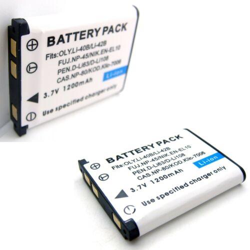 2x Batería para Fujifilm FinePix XP31 XP50 XP60 XP70 XP80 Z10fd Z20fd Z30 Z31 Z33