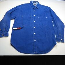 VINTAGE TOMMY HILFIGER JEANS CORDUROY BUTTON UP SHIRT Sz Mens M Blue