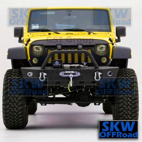 Front Bumper w//OE Fog Light Hole+Winch Plate+D-Ring for 07-18 Jeep JK Wrangler