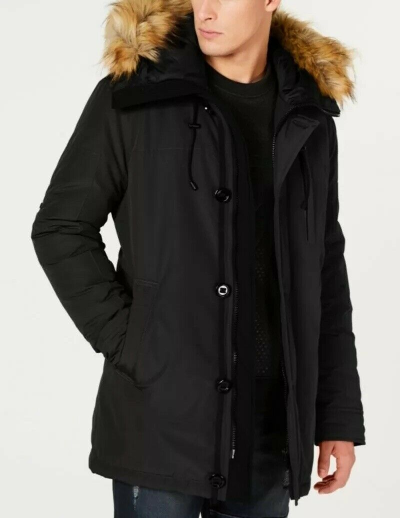 Mens Hooded Parka With Fur Trim