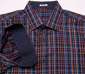 BUGATCHI-UOMO-Long-Sleeve-Flip-Cuff-Shirt-Purple-Black-Blue-Plaid-XL-Shaped-Fit