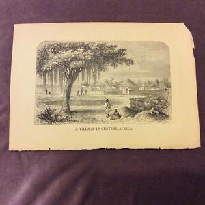 Antique-Book-Print-A-Village-in-Central-Africa-c-1840-50