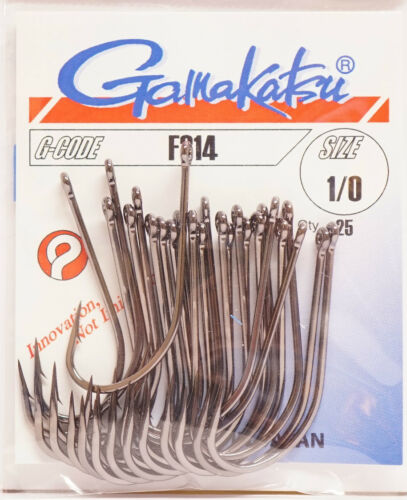 Gamakatsu f314 Taille #1//0 Black Nickel 25 Crochet f314 #1//0