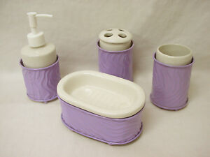 Lavabo Forja.Details About 35533 4 Piece Bathroom Set Accessories Desktop Basin Forging Lilac Purple Mauve Show Original Title