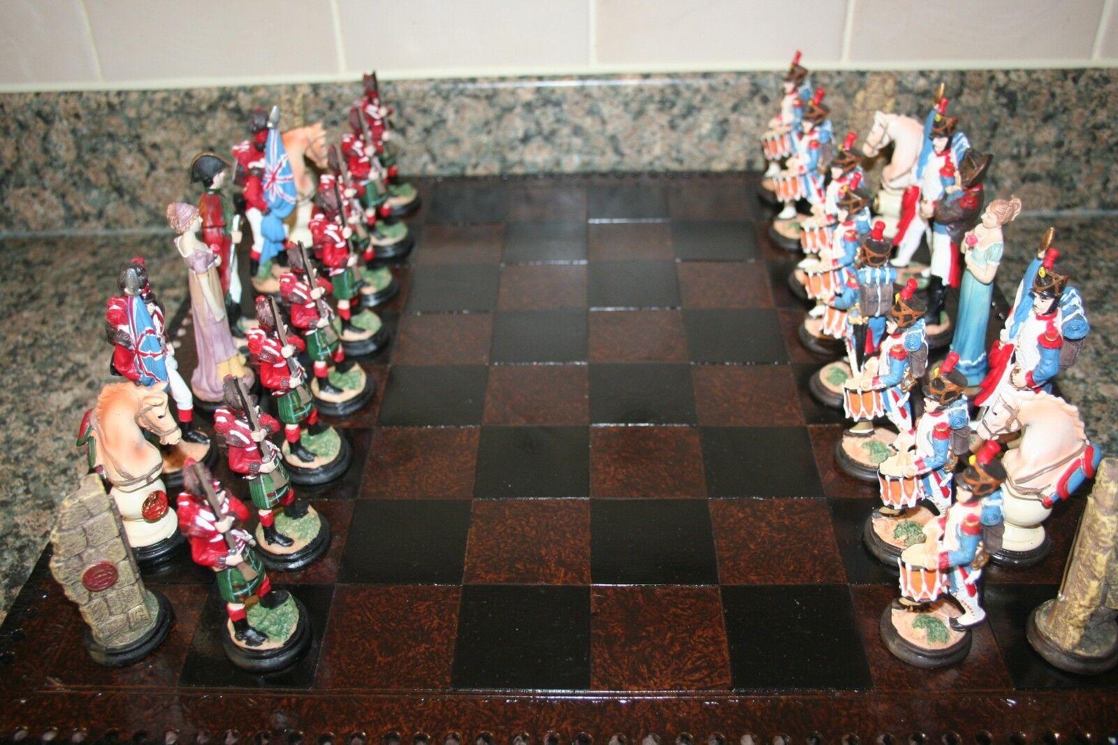Peint à la main bataille de Waterloo Napoléon V Wellington Chess Set & Board