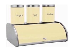 4pc-Bread-Bin-Storage-Canister-Set-The-sucre-cafe-cuisine-Bocal-Metal-Creme-NEUF