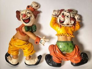 Vintage-Antique-70-s-HOMCO-2-Clown-Wall-Plaques-Hanging-Wall-Decorations-Circus