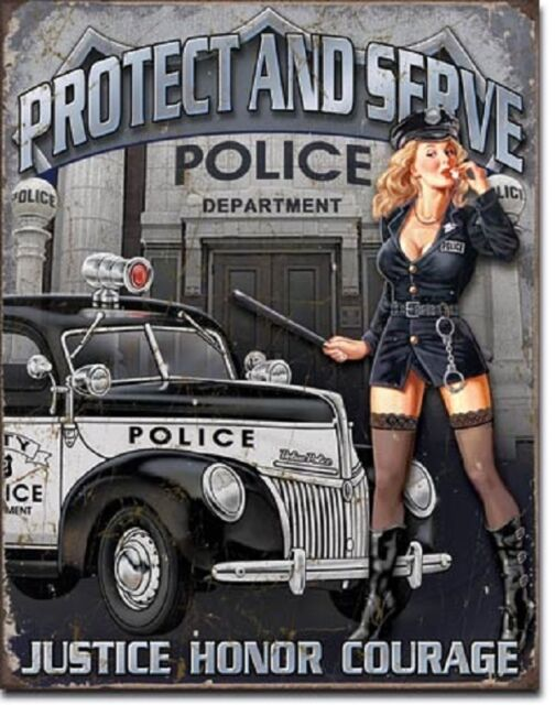 Protect and Serve Police Dept Pinup TIN SIGN funny metal poster wall art 1721-A