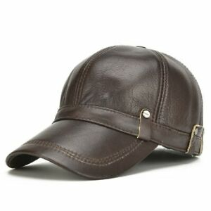 7521d0b8664 AKIZON  Leather Hat Men 100% Leather Baseball Cap with Ears Flap Dad ...
