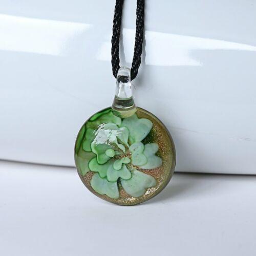 New Women Round Lampwork Murano Glass Pendant Necklace Chain Charm Jewelry Gift