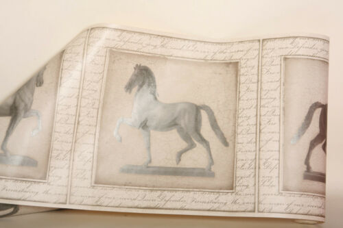 Silver Horse Horses Crackle Writing Script Beige Framed Wallpaper Border AY6623B