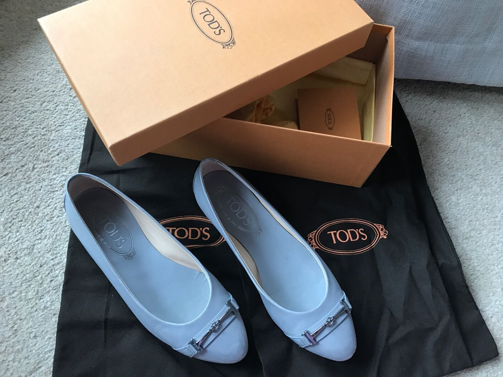 TODS Flat shoes Ballet Flats Ballerinas - Grey Leather Leather Leather - Size 36 - 794703