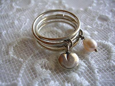Twinflower Vanamo ring 7,5 Kalevala Koru Finland silver and freshwater pearl