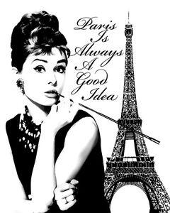 Audrey Hepburn Paris Is Always A Good Idea Pop Art Canvas 16 x 20 | eBay