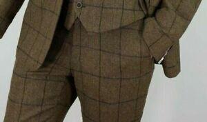Homme-Melange-Laine-Tweed-marron-coupe-ajustee-pantalon-liquidation-totale-seulement-19-95