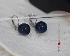 Boucles d`Oreilles Dormeuse Argenté Perle Bleu Foncé Marine Vintage EE 7
