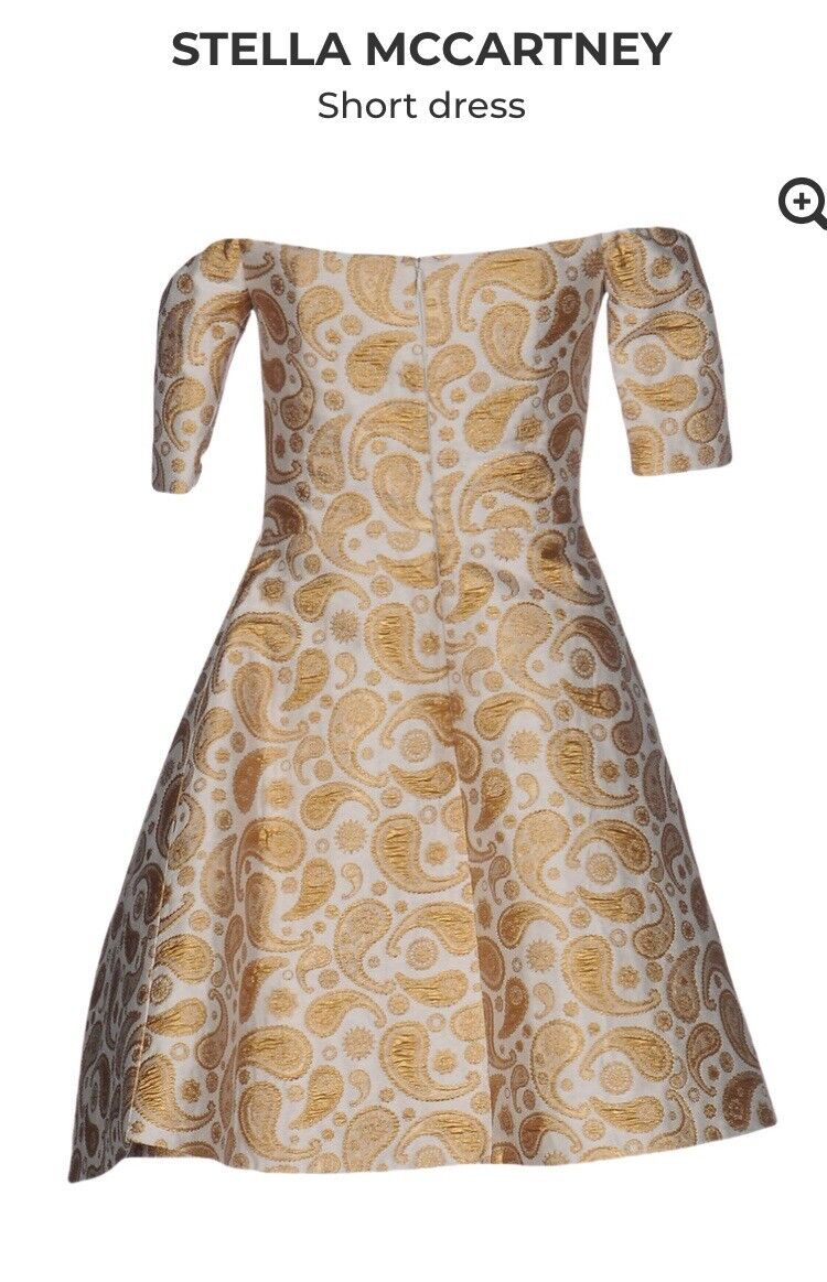 NWT Stella Mccartney Brocade Natural  Short Dress. Size38