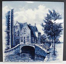 "Delft Tile Kerkstraat met Huisje House on Canal Bridge Dutch 6"" x 6"""