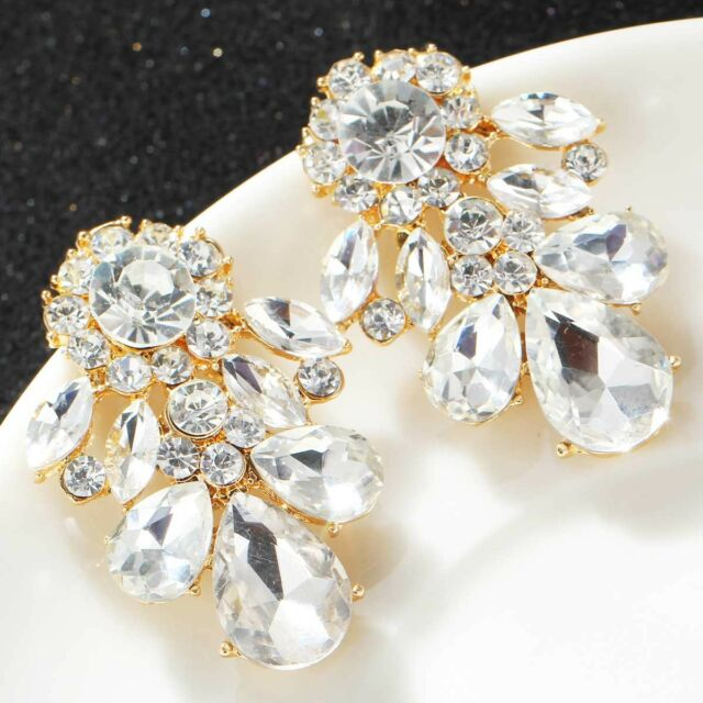 fashion show lady Elegant Crystal Rhinestone Ear Stud silver dangle Earrings 467