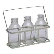 Set Of Three 3 School Milk Bottles In Crate Flower Bud Vase Drinking Shot Glass