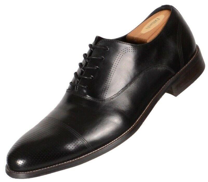 Kenneth Cole Reaction Mens Jean-ial Cap Toe Oxford Size 10.5M Black Leather Shoe