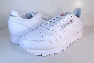 6cd1b115477 REEBOK MENS CLASSIC LEATHER White White-Light Grey -9771- ATHLETIC ...