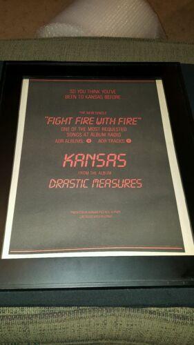 Kansas Fight Fire With Fire Rare Original Radio Promo Poster Ad Framed!