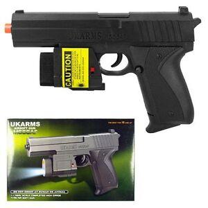 UK-ARMS-7-5-034-Black-Plastic-Airsoft-Pistol-Hand-Gun-Laser-M555af-105FPS-5000-BBs