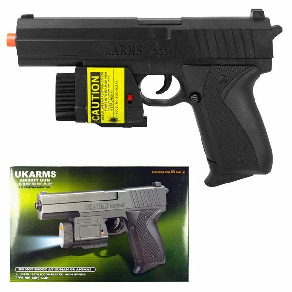 "UK ARMS 7.5"" Black Plastic Airsoft Pistol Handgun Gun w/BB & Laser M555af 105FPS"