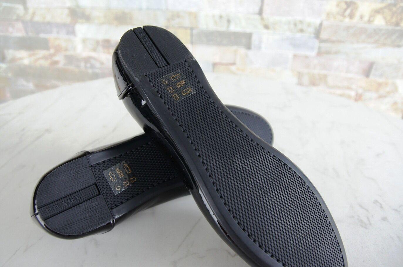 PRADA TAGLIA SCARPE 36 BALLERINE SLIPPER SCARPE TAGLIA BASSE VERNICE Scarpe in pelle nero NUOVO UVP e9ce10