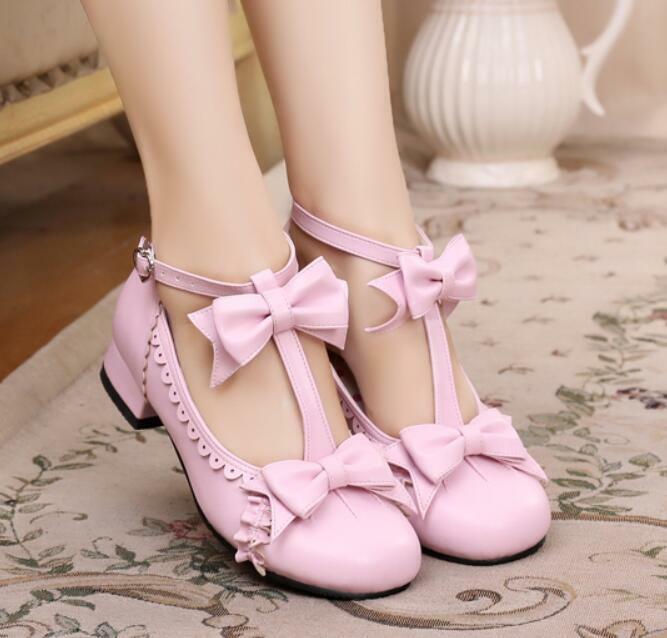 Bow Cute Student Shoes Womens Lolita Kitten Heels Girls Cosplay Janpanese Shoes
