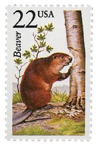 1987 22c Beaver, North American Wildlife Scott 2316 Min
