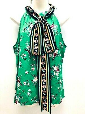Green Floral Bow Collar Blouse