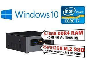 Intel® NUC PC i7 8650U CPU, 8-16GB RAM, HDD oder SSD, Windows 10 Home oder Pro