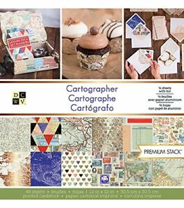 "American Crafts DCWV 12"" x 12"" Cartographer Premium Stack - Printed Cardstock"