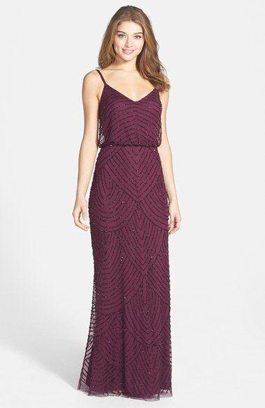 ADRIANNA PAPELL GRECIAN STYLE BLOUSON BURGANDY GOWN DRESS sz 4