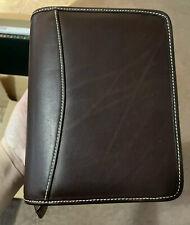 200 Franklin Covey Vintage Unique Dark Brown Smooth Leather Binder Planner