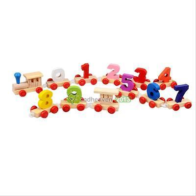 Fun Kids Baby Developmental Toys Toddler Wooden Train Truck Set Digital Blocks