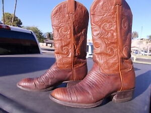 a6fdb44b634 Details about Distressed Lizard Skin Tony Lama Western Cowboy Boots Men's  Size 8 1/2 D