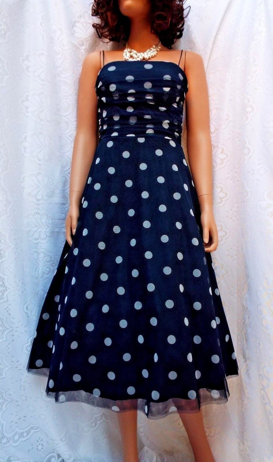 ELIZA NEW NEW NEW YORK 50s J Hollywood Glamour Navy & Bianco Spot Mesh VOILE ABITO TAGLIA 8 4f996a
