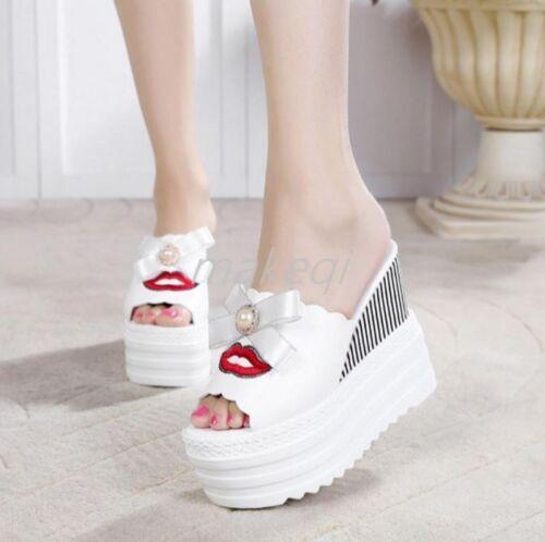 New FashioN Womens Peep Toe Bownknot Platform High Wedge Heel Sandals Shoes 2017