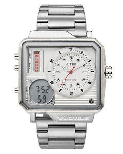 Men-039-s-Fashion-Analog-Digital-Watch-Daul-Time-Stainless-Steel-Band-White-Dial