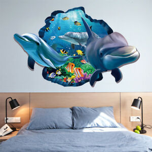 Image Is Loading 3D Cute Underwater World Dolphin Fish Wall Sticker