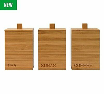 Set Of 3 Wooden Tea Coffee Sugar Storage Bamboo Canisters Kitchen Jars Container Ebay