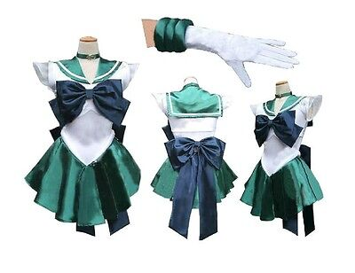 Soldier Sailor Moon Neptune Kaiou Michiru Cosplay Costume,Headwear included 307